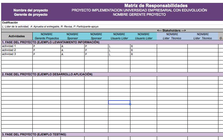 RAM matriz de responsabilidades formato template excel .xlsx