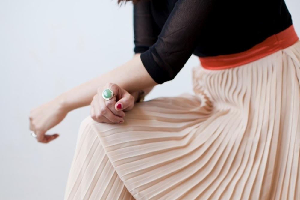 faldas plisadas, rosa