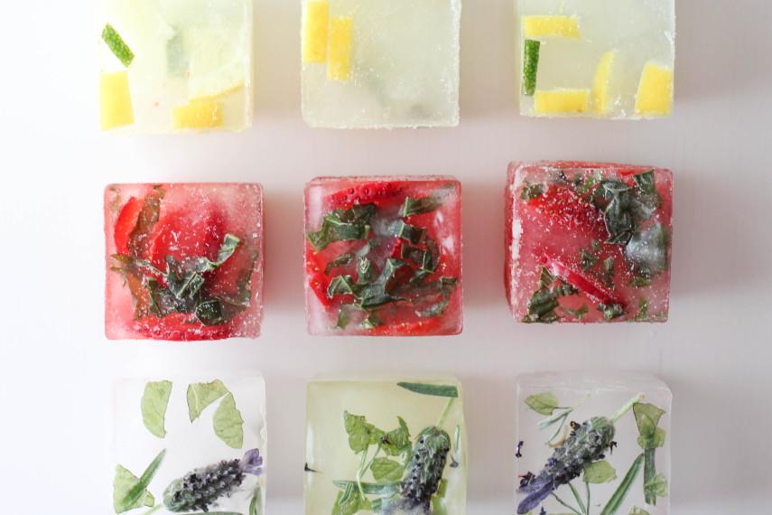 hielo, flores