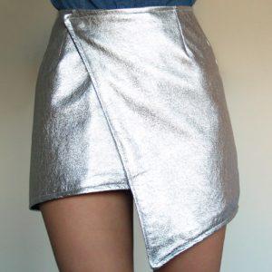 metalizados, falda plateada
