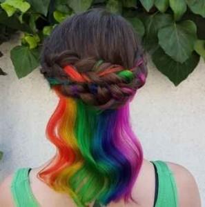 Arcoíris, pelo, trenzas