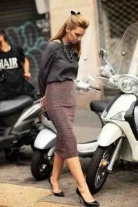 estilo minimalista, outfit noche, falda lápiz