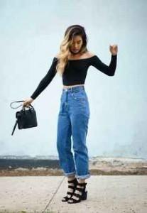 jeans, cintura alta, crop top