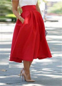 falda roja, midi falda, rojo