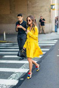 Nueva york, amarillo mostaza, semana de la moda