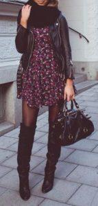 vestido, mini, flores, chaqueta de cuero