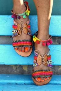 zapatos, sandalias, borlas