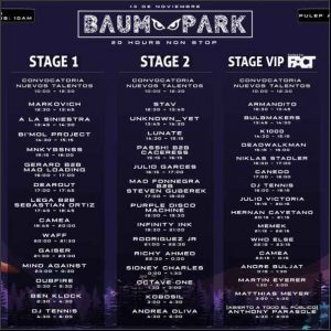 Baum park, electronica, line up
