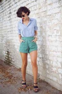 moda mujeres, moda 40, shorts a la cintura