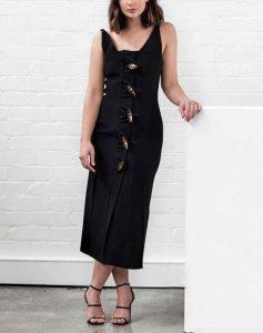 mujeres, estilo, vestido negro