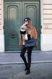 pantalones de cuero, abrigo