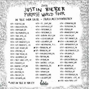Justin Bieber, Purpose World Tour, fechas
