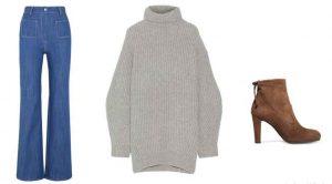 suéter grande, zapatos de tacón