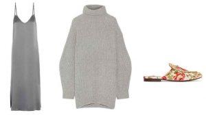 suéter grande, vestido de seda