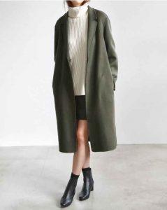 cuello tortuga, abrigo largo