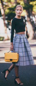 outfits, midi falda